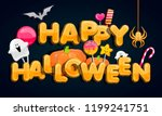 halloween party. jack o lantern ... | Shutterstock .eps vector #1199241751