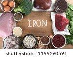 iron rich foods as liver  beef  ... | Shutterstock . vector #1199260591