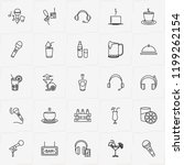 bar line icon set with beer box ... | Shutterstock .eps vector #1199262154