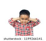 asian boy covering his ears...   Shutterstock . vector #1199266141