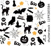 silhouettes halloween... | Shutterstock .eps vector #1199285584