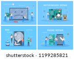 small people repair a digital... | Shutterstock .eps vector #1199285821