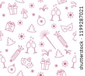 seamless pattern with new year... | Shutterstock .eps vector #1199287021