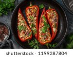 bell peppers stufed with pearl... | Shutterstock . vector #1199287804