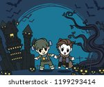 halloween kids costume party.... | Shutterstock .eps vector #1199293414