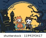 halloween kids costume party.... | Shutterstock .eps vector #1199293417