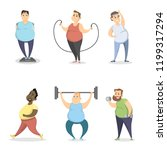 fat people exercising on white... | Shutterstock . vector #1199317294
