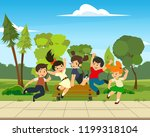 happy kids jumping and... | Shutterstock .eps vector #1199318104