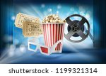 cinema blue background. concept ... | Shutterstock . vector #1199321314