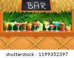 beach tiki bar  alcoholic... | Shutterstock .eps vector #1199352397