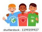 happy friends of different... | Shutterstock .eps vector #1199359927