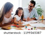 happy familiy spending fun time ... | Shutterstock . vector #1199365387