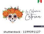 sugar catrina skull for day of... | Shutterstock .eps vector #1199391127