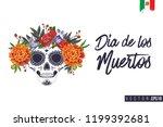 sugar skull with flowers for... | Shutterstock .eps vector #1199392681