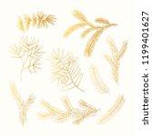 set of golden hand drawn winter ... | Shutterstock .eps vector #1199401627