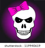 funny angry skulls with pink bow