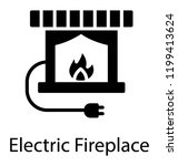 fireplace with electrical plug  ... | Shutterstock .eps vector #1199413624