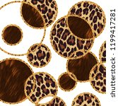 Stock photo leopard print animal print gold baroque ornament golden shiny background 1199417281