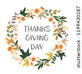 thanksgiving day wreath. autumn ... | Shutterstock .eps vector #1199430187