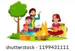 happy family with children... | Shutterstock . vector #1199431111