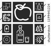 10 green  outline style icons... | Shutterstock .eps vector #1199441224