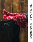 women's feet in christmas  warm ... | Shutterstock . vector #1199442607