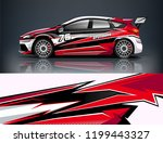racing car wrap design. sedan... | Shutterstock .eps vector #1199443327