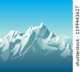 snowy mountain. vector... | Shutterstock .eps vector #1199443627