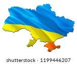 flag map of ukraine with crimea....   Shutterstock . vector #1199446207