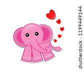 pink elephant cartoon with... | Shutterstock .eps vector #1199449144