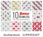 seamless backgrounds with 80s... | Shutterstock .eps vector #1199453107