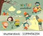 happy cute kids playing winter... | Shutterstock .eps vector #1199456254