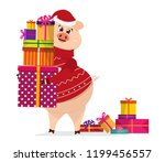 pig in christmas pullover keep...   Shutterstock .eps vector #1199456557