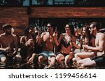 young friends with alcoholic... | Shutterstock . vector #1199456614