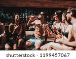 young friends with alcoholic... | Shutterstock . vector #1199457067