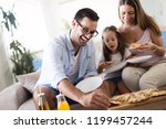 portrait of happy family... | Shutterstock . vector #1199457244