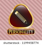 golden emblem with pencil icon ... | Shutterstock .eps vector #1199458774