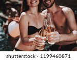smiling couple with alcoholic... | Shutterstock . vector #1199460871