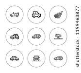 sedan icon set. collection of 9 ... | Shutterstock .eps vector #1199463877