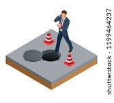 isometric man talking on the... | Shutterstock .eps vector #1199464237