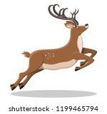 cute jumping deer with antlers. ... | Shutterstock .eps vector #1199465794
