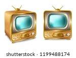 cartoon retro vintage tv set... | Shutterstock . vector #1199488174