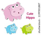 lovely paper hippopotamus on... | Shutterstock .eps vector #1199501887