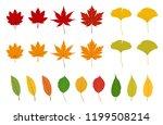 set of autumn leaves  maple ...   Shutterstock .eps vector #1199508214