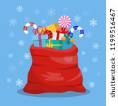 santa claus red bag  sack with... | Shutterstock .eps vector #1199516467