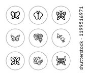 moth icon set. collection of 9... | Shutterstock .eps vector #1199516971