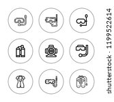 dive icon set. collection of 9... | Shutterstock .eps vector #1199522614