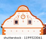 picturesque gable of old house... | Shutterstock . vector #1199523061