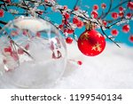 red and clear christmas baubles ... | Shutterstock . vector #1199540134