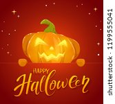 jack o lantern with smile and... | Shutterstock . vector #1199555041